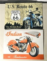2 tin signs - Route 66 and Indian motorcycle -