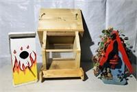 2 Decorative Bird Houses,  Bird Feeder
