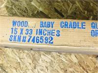 Wooden Baby Cradle  Color: dark wood stain