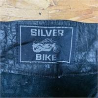 Silver Bike Leather Chaps, XL