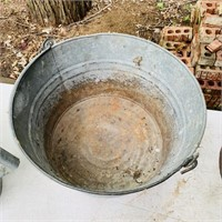 Vintage Metal Buckets, Big Bucket has name on it,
