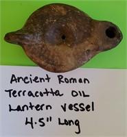 ANCIENT ROMAN TERRACOTTA OIL LANTERN VESSEL