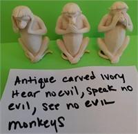 D - ANTIQUE CARVED IVOR HEAR NO EVIL, SPEAK NO