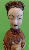 """ANTIQUE HAND PAINTED ASIAN IVORY STATUE 6"""" TALL"""