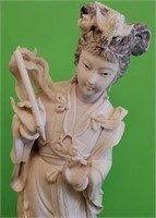 D - ANTIQUE ASIAN HAND CARVED IVORY STATUE WITH