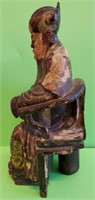 CHINESE MING DYNASTY WOOD POLYCHROME FIGURE OF