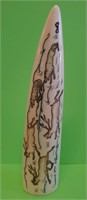 D - VINTAGE HAND CARVED HAND PAINTED IVORY TUSK
