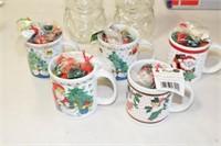 2 - SnowMan Candy Jars, 5 - Christmas Mugs
