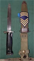 D - US M5 AERIAL KNIFE & MASTER SARGEANT PATCH ON