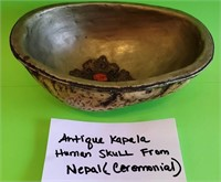 D - ANTIQUE KAPELA HUMAN SKULL FROM NEPAL