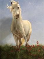 47 - WHITE STALLION CANVAS ART