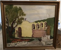 47 - SIGNED BY BROOKS '44 STUCCO CHURCH PAINTING
