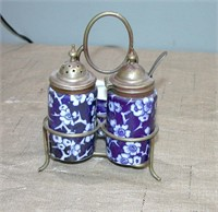 Antique Sterling Condiment set Sterling rack spoon