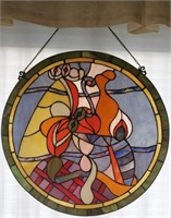 48 - LARGE 2 FOOT STAIN GLASS HANGING SUNCATCHER