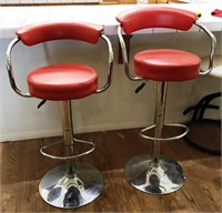 47 - PAIR OF QUIRKY RED SALON CHAIRS