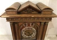 47 - 1800'S OAK MANTEL CLOCK