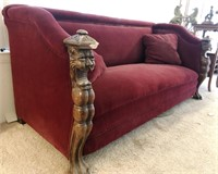 47 - OH SO SOFT VELVET SOFA WITH WOOD CARVINGS