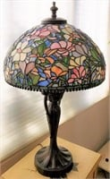 48 - TIFFANY STYLE TABLE FLOWER LAMP