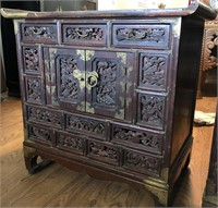 47 - INTRICATE ORNATE ASIAN STYLE END TABLES