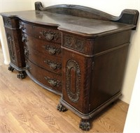 VINTAGE BUFFET TABLE WITH 4 DRAWERS AND CLAW FEET