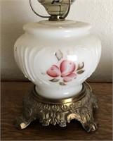 47 - VINTAGE PORCELAIN & GLASS LAMP