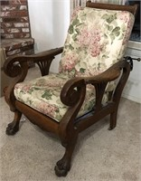 47 - VINTAGE WOOD RECLINING CHAIR