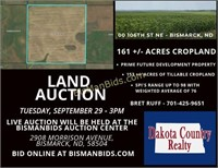 Sept 29 - 161 +/- ACRES BISMARCK CROP LAND