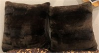 56 - PAIR OF BROWN FUZZY COUCH PILLOWS
