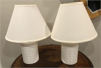 56 - PAIR OF PRISTINE WHITE CERAMIC BASE LAMPS