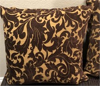 56 - PAIR OF BROWN & TAN COUCH PILLOWS