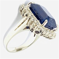 14KT WHITE GOLD 16.50CTS SAPPHIRE AND 1.20CTS