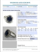 14KT WHITE GOLD 4.40CTS SAPPHIRE AND .35CTS