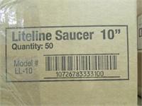 """4 BOXES: PLASTEC 4"""", 10"""" PLASTIC SAUCERS, ETC."""
