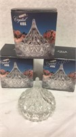 Trio of Crystal Hershey's Kiss Candy Dishes