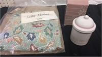 Pier 1 Imports Table Runner & Avon Apothecary Jar