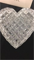 Pair of Block Lead Crystal Heart Shape Boxes