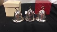 Trio of Silver Plate Xmas Bells