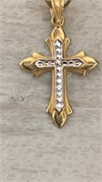 14Kt Gold Cross Charm by Michael Anthony in Xmas