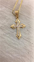 14kt Gold Cross Charm in Xmas Trinket Box by Mark