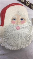 Vintage Santa Platter, Stained Glass Stocking