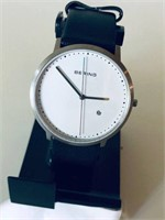 BERING MENS WHITE DIAL BLACK LEATHER WATCH - USED