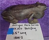 """D - ANTIQUE HAND CARVED FOLK ART BULLFROG 8.5"""""""