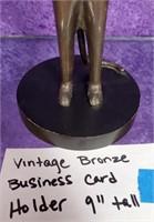 "D - VINTAGE BRONZE BUSINESS CARD HOLDER 9"" TALL"