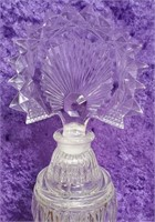 "D - TWO ANTIQUE CRYSTAL PERFUME BOTTLES 10"" TALL"
