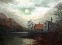 """ANTIQUE PAINTING BY L TAYLOR 25"""" X 19"""""""