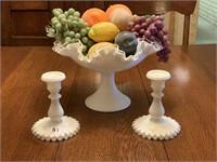 4-piece Fenton Milk Glass