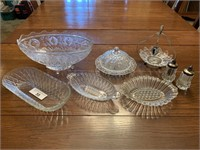 Glass & crystal serving dishes w/ salt & pepper