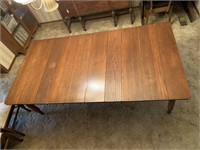 Antique oak dining table with 6 matching chairs