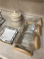 Wicker plate holders, canisters, etc.