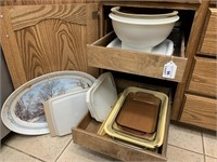 Bakeware, platters, serving bowls, storage